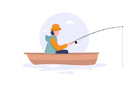 Fisherman sits on boat with fishing rod. Fishman crocheted spin into the sea. Fishing concept. Flat style vector illustration isolated on white background