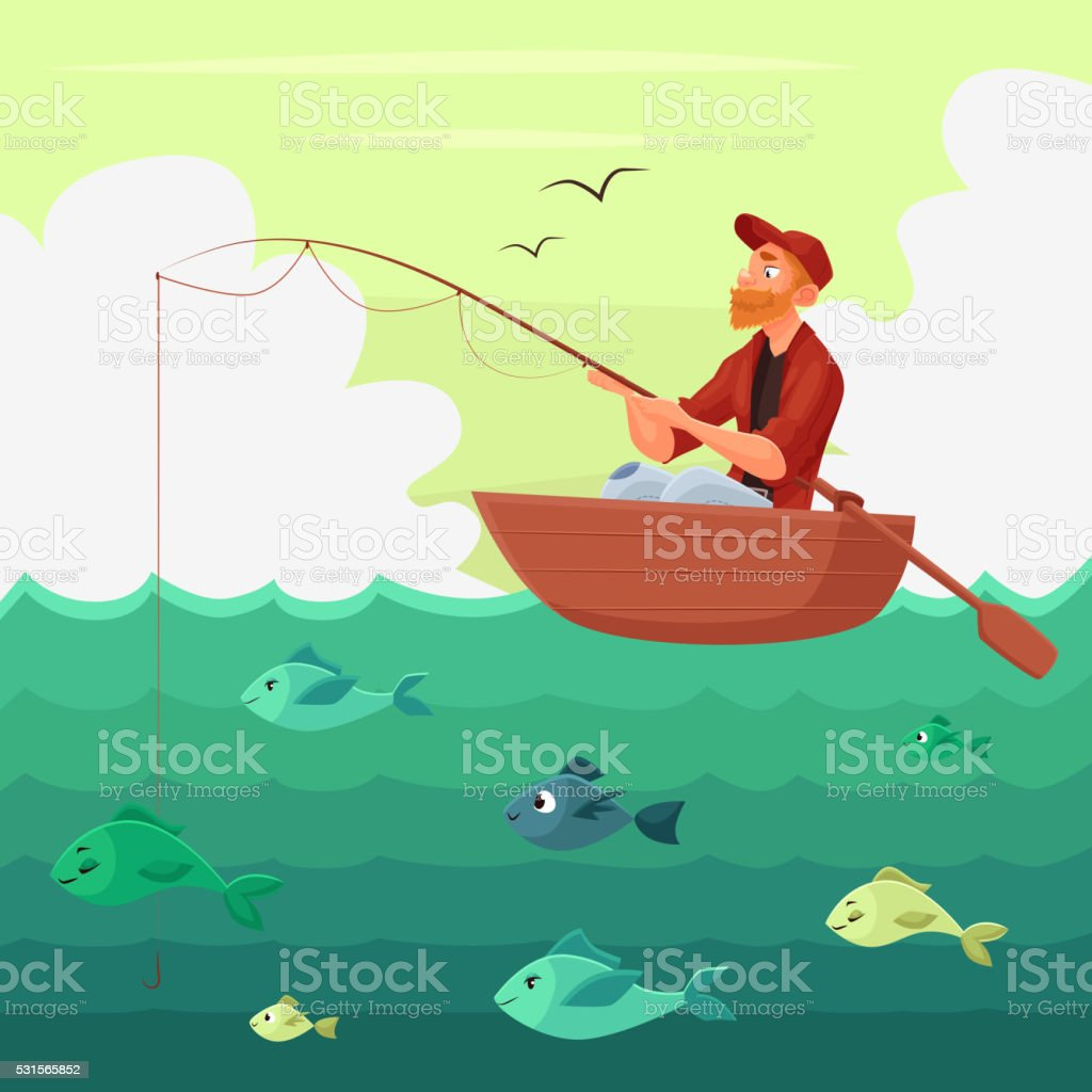 Fisherman sitting in the boat vector art illustration