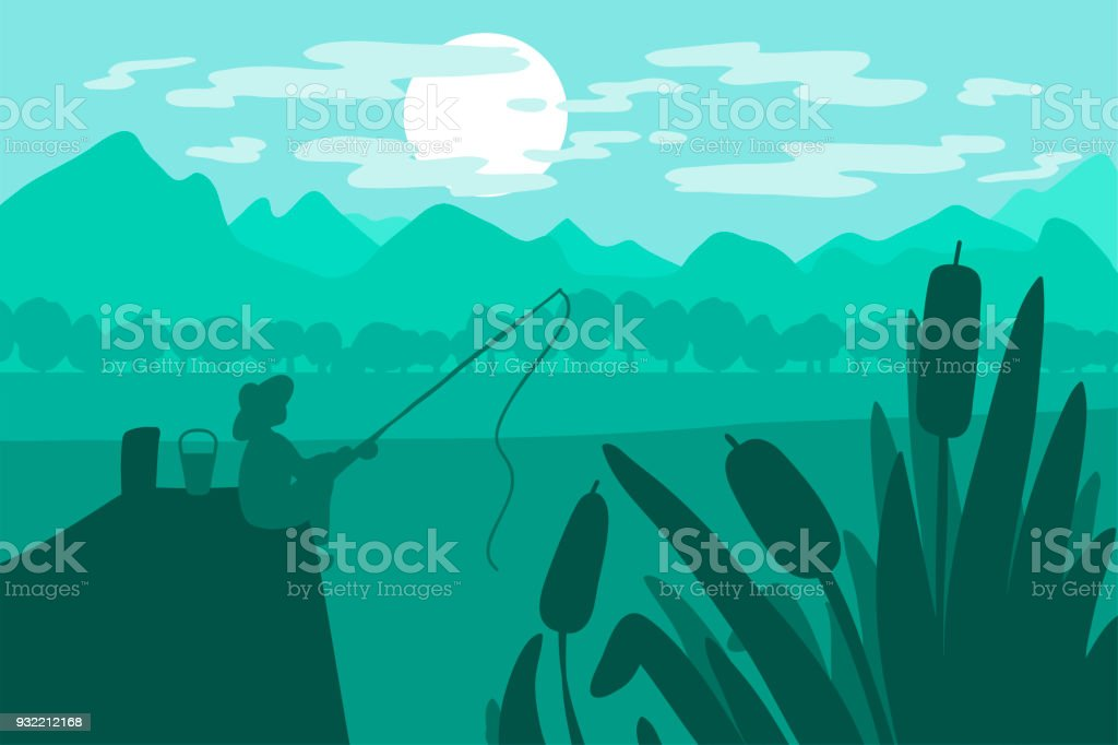 Fisherman sitting with a fishing rod vector art illustration