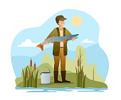 Fisherman standing at river bank. Fishing sport outfit outdoor summer recreation, leisure time. Flat abstract outline vector illustration concept banner design. Simple art isolated on white background