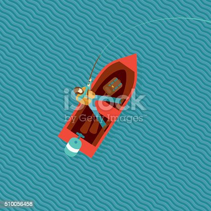 Fisherman is catching a fish in a boat. Top view of a red boat with a fisherman. isolated cartoon illustration.