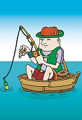 Fisherman spending time in his boat