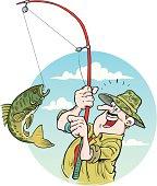 Illustration of fisherman.