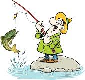 Illustration of happy fisherman.