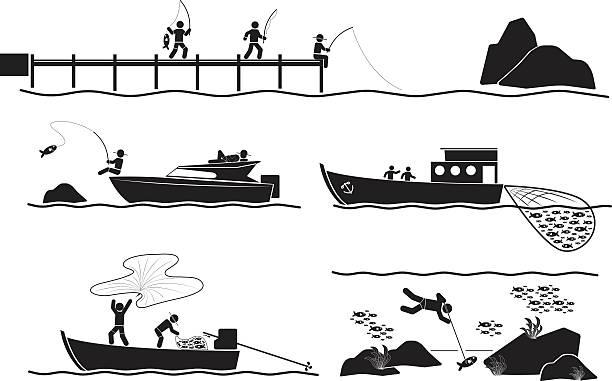 ilustrações de stock, clip art, desenhos animados e ícones de pescador - fishing boat
