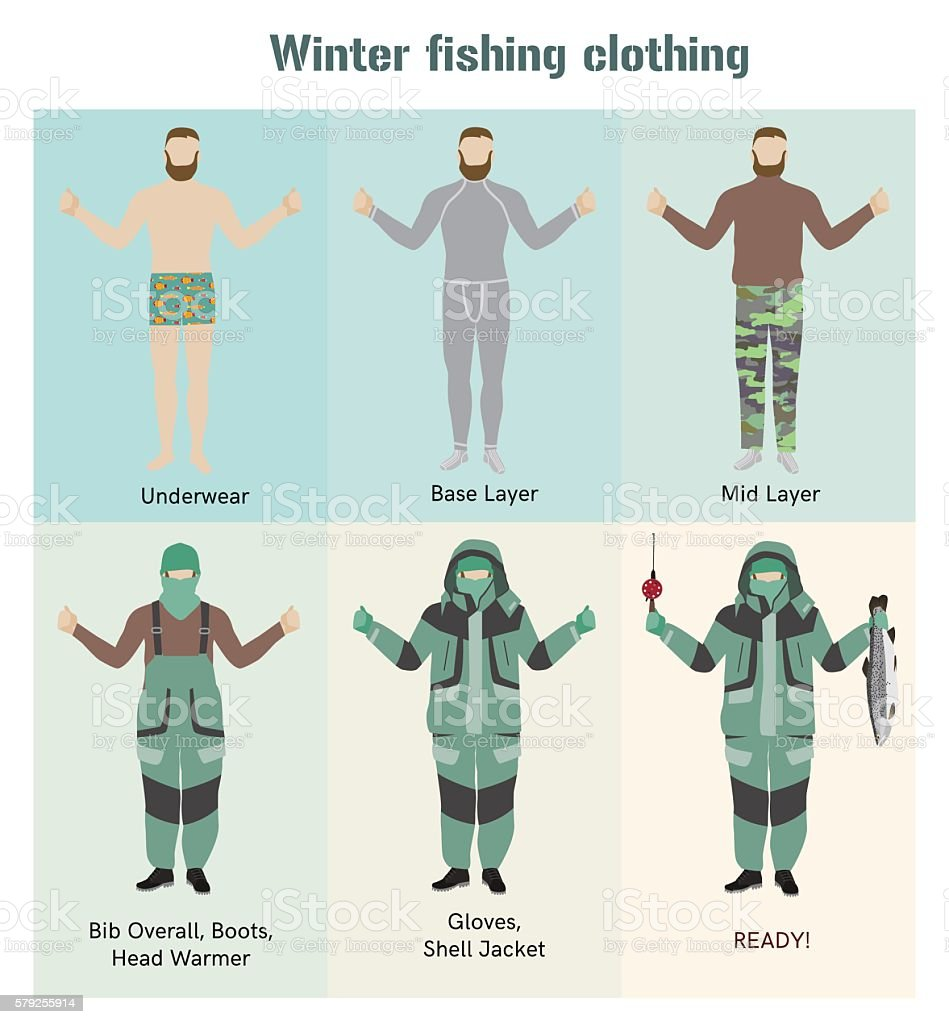 Fisherman winter clothes vector flat infographic - Illustration vectorielle