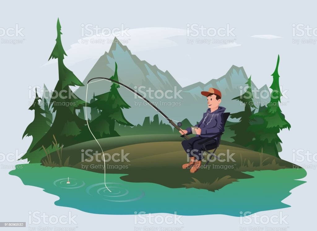 Fisherman with a fishing rod on the shore of a forest lake. Active outdoor recreation. Vector illustration. vector art illustration