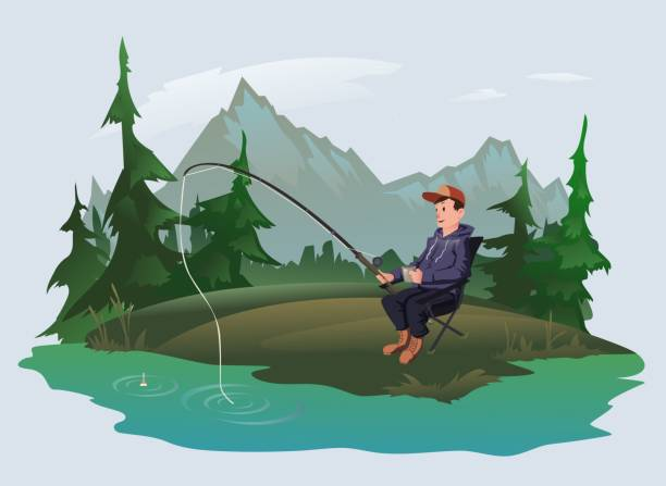 fisherman with a fishing rod on the shore of a forest lake. active outdoor recreation. vector illustration. - rybactwo stock illustrations