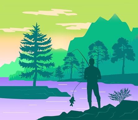 Fisherman with a fishing rod on the shore of a forest river. Silhouette of a man standing on coast and fishing