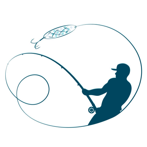 Fisherman with a fishing rod silhouette Fisherman with a fishing rod and a shining silhouette fishing reel stock illustrations