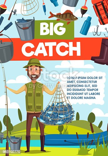 Fisherman with big fish catch and rod banner