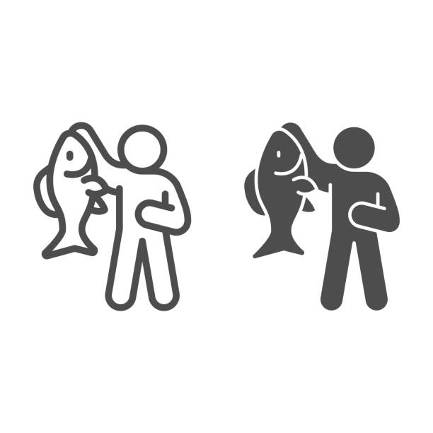 Fisherman with big fish line and solid icon, Fish market concept, fishery sign on white background, Fisherman icon in outline style for mobile concept and web design. Vector graphics. Fisherman with big fish line and solid icon, Fish market concept, fishery sign on white background, Fisherman icon in outline style for mobile concept and web design. Vector graphics giant fictional character stock illustrations