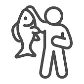 istock Fisherman with big fish line icon, Fish market concept, fishery sign on white background, Fisherman icon in outline style for mobile concept and web design. Vector graphics. 1286437218
