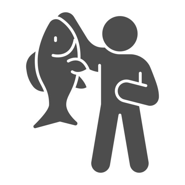Fisherman with big fish solid icon, Fish market concept, fishery sign on white background, Fisherman icon in glyph style for mobile concept and web design. Vector graphics. Fisherman with big fish solid icon, Fish market concept, fishery sign on white background, Fisherman icon in glyph style for mobile concept and web design. Vector graphics giant fictional character stock illustrations