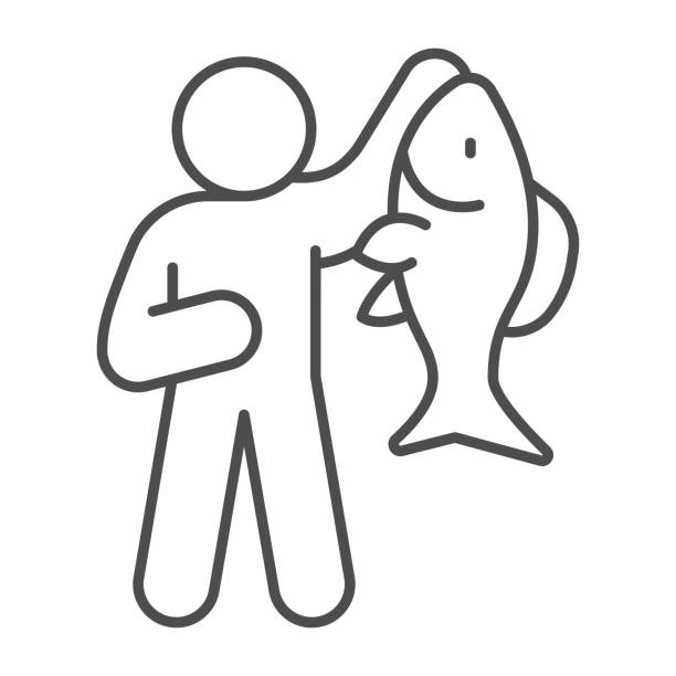 Fisherman with big fish thin line icon, Fish market concept, fishery sign on white background, Fisherman icon in outline style for mobile concept and web design. Vector graphics. Fisherman with big fish thin line icon, Fish market concept, fishery sign on white background, Fisherman icon in outline style for mobile concept and web design. Vector graphics giant fictional character stock illustrations