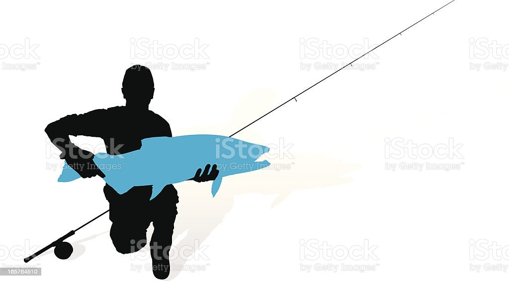 Fisherman With Catch Silhouette vector art illustration