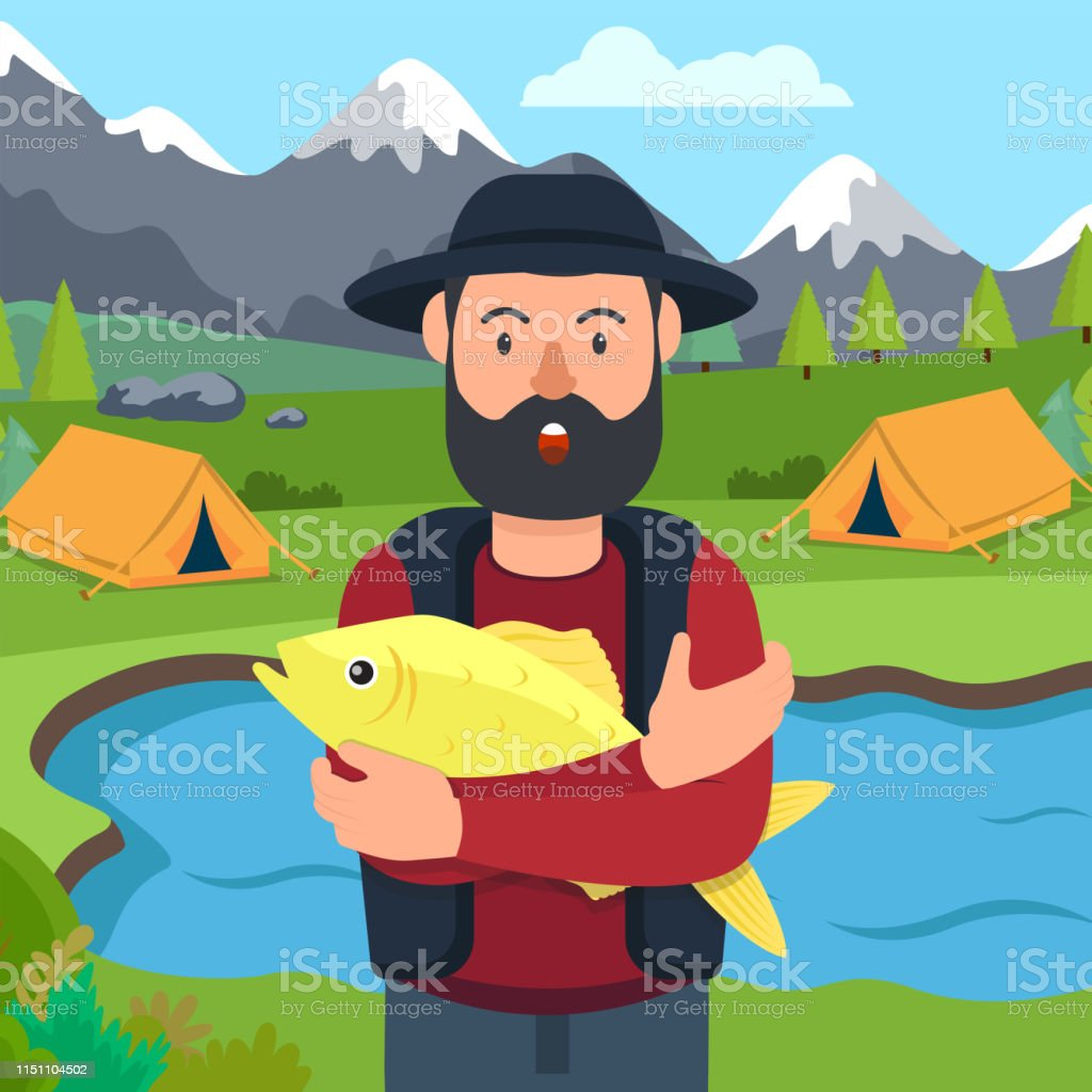 Fisherman with Yellow Fish in Hand. Background Mountain Camping....