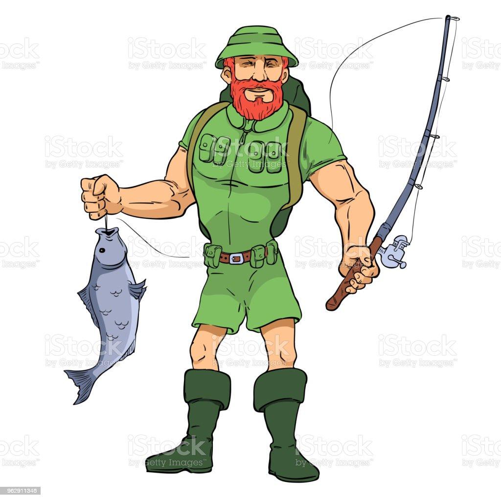 Fischer mit Fisch – Vektorgrafik
