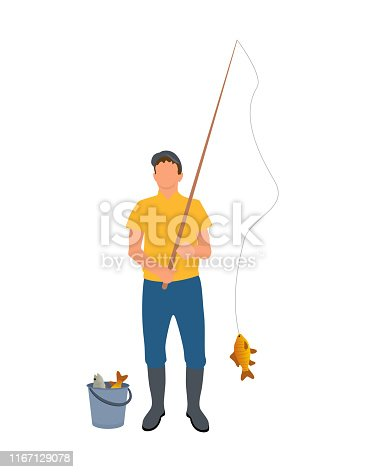Fisherman with Fisher-rod Vector Illustration