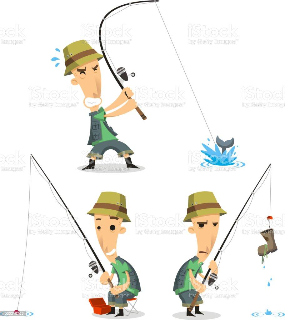 Fischer mit der Angel Ausstattung – Vektorgrafik