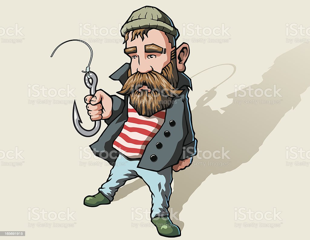 Fisherman With Fishing Hook vector art illustration