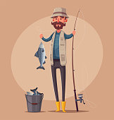 Fisherman with fishing rod. Fishing on the boat. Cartoon vector illustration.