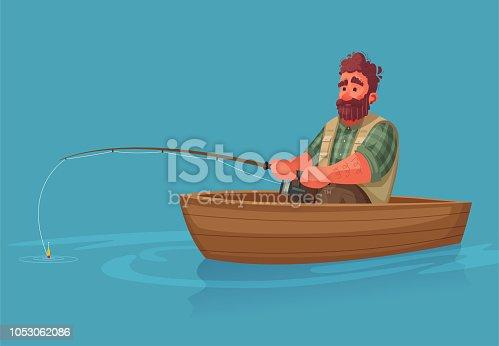 Fisherman with fishing rod. Cartoon vector illustration.