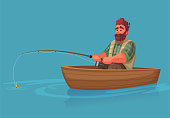 Fisherman with fishing rod. Fishing concept. Cartoon vector illustration. Catch a fish on a boat