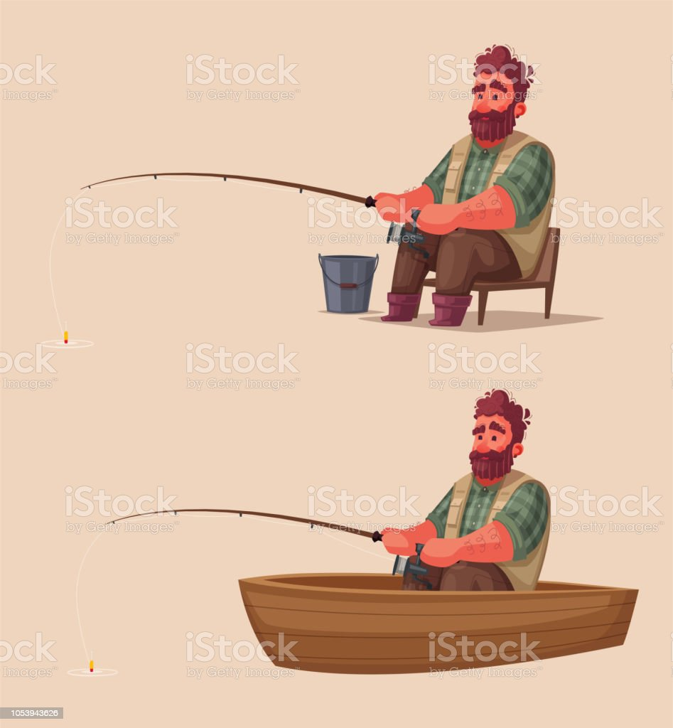 Fisherman With Fishing Rod Cartoon Vector Illustration Stock