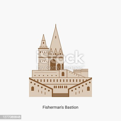 istock Fisherman's bastion towers in Hungary capital icon. Hungarian tourist destination you have to visit. Best historical landmark located in the Buda Castle. Vector art illustration flat design. 1277085848