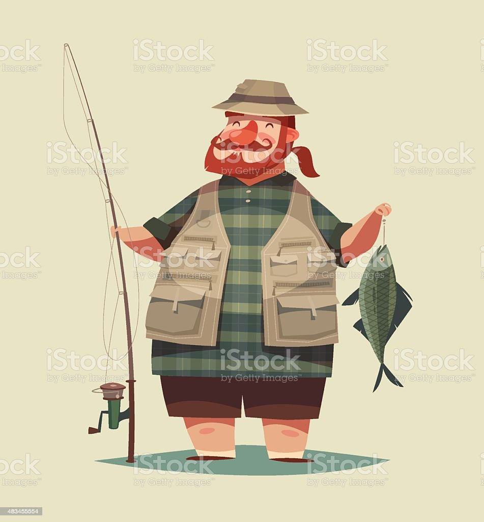 Fisherman's catch vector art illustration