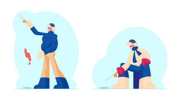 ilustrações de stock, clip art, desenhos animados e ícones de fishermen in warm clothes and earflaps hat fishing on ice catching fish with rod at winter time. ice fishing wintertime outdoor activities, relaxing hobby concept. cartoon flat vector illustration - fishman