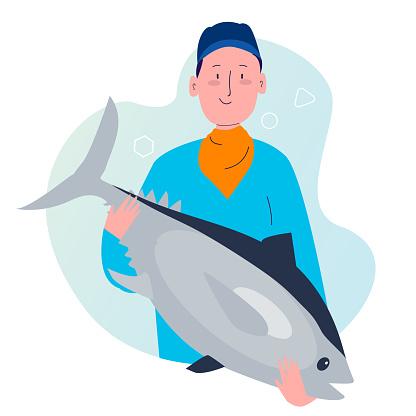 fishermen show big tuna her catch with cartoon flat style