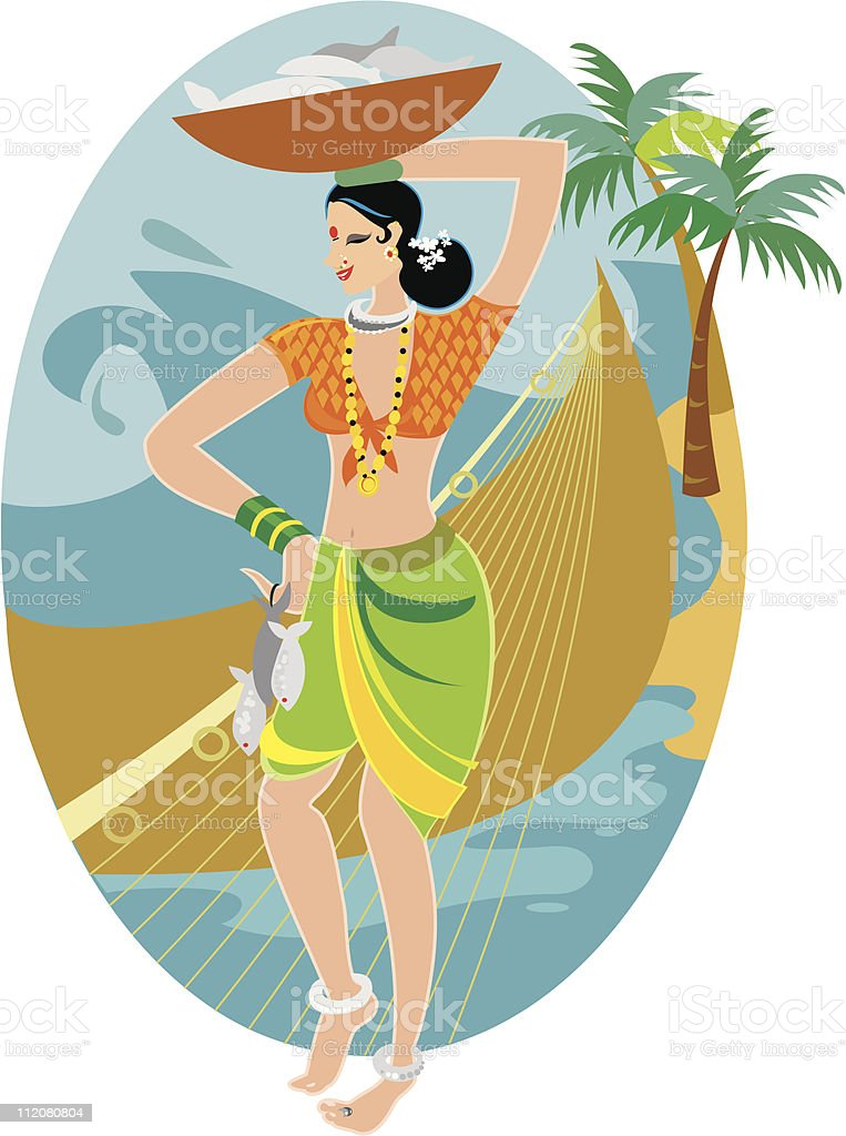 Fisherwoman from India royalty-free stock vector art