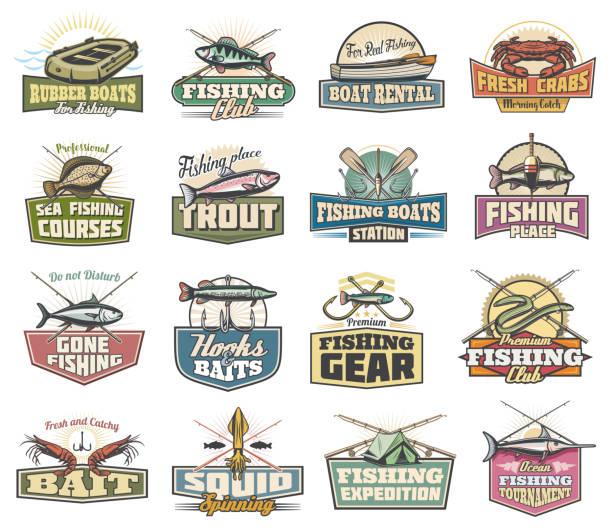 ikony rybołówstwa, przedmioty wędkarskie i ryby - rybactwo stock illustrations