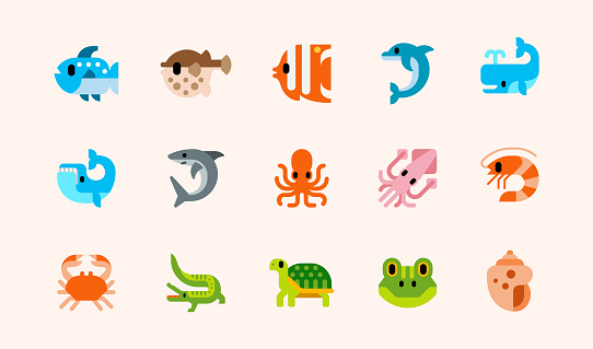 Fishes and reptile animals vector illustrations icons set. Seafood, ocean animals, fish, blowfish, tropical fish, dolphin, shark, whale, squid, octopus, shrimp, crab, crocodile, green turtle, frog, seashell isolated cartoon flat symbols collection