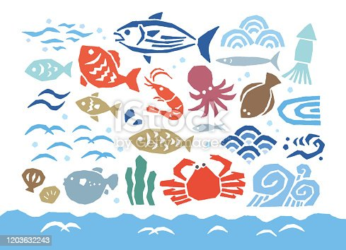 istock Fishes and wave Japan 1203632243