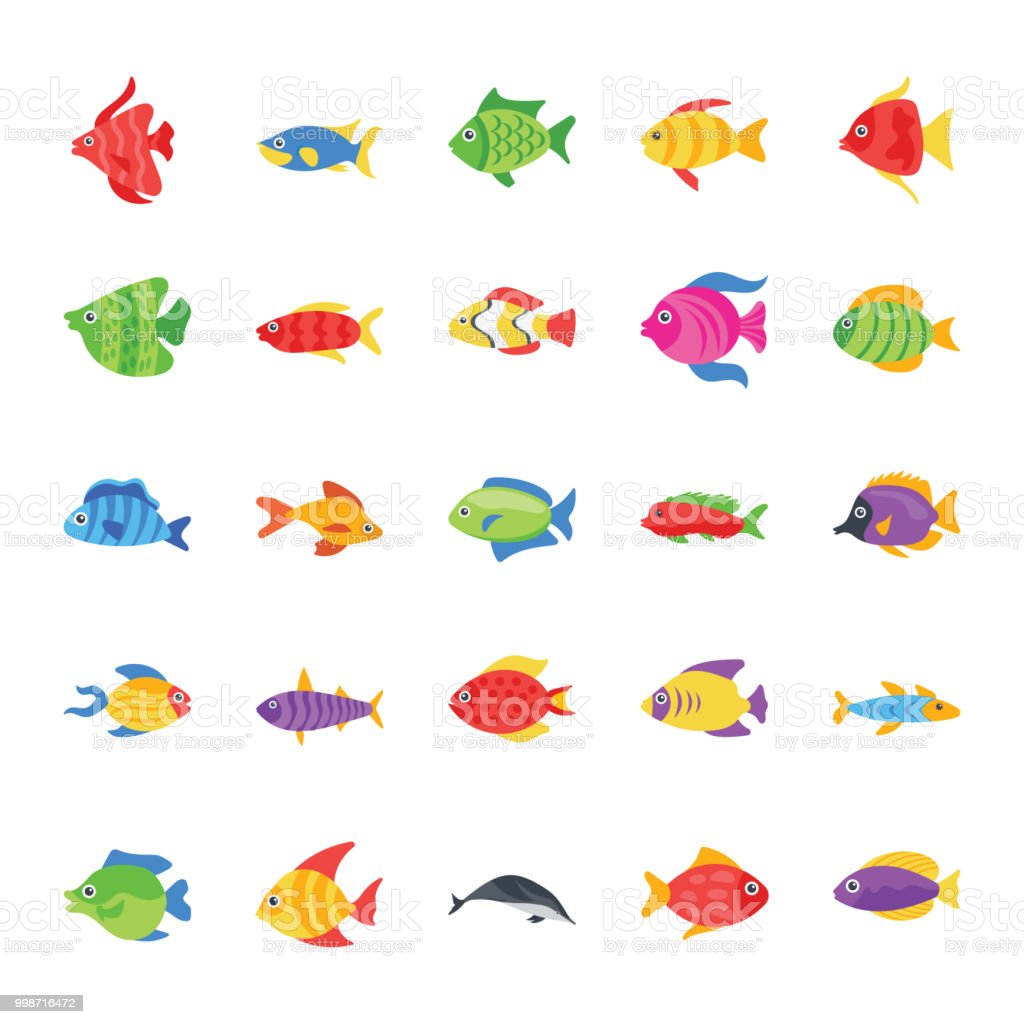 Fishes Flat Vector Icons vector art illustration