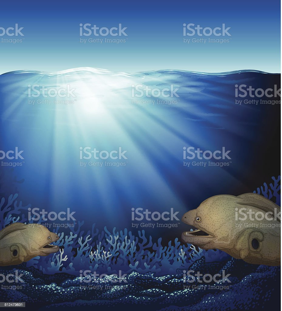 Fishes in the ocean vector art illustration