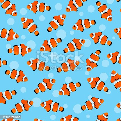 istock Fishes pattern design in vector. Sea animals pattern. Poisson clown fish pattern. Fishes background 1202059645