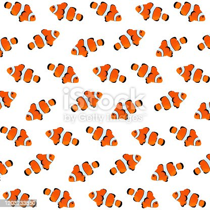istock Fishes pattern design in vector. Sea animals pattern. Poisson clown fish pattern. Fishes background 1203233850