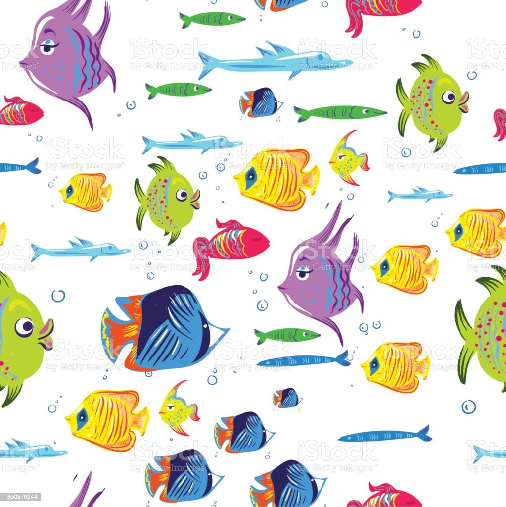 Fishes Seamless Pattern Cute Cartoon Aquarium Fish Animals Background For Kids Vector Illustration Print Stock Illustration Download Image Now