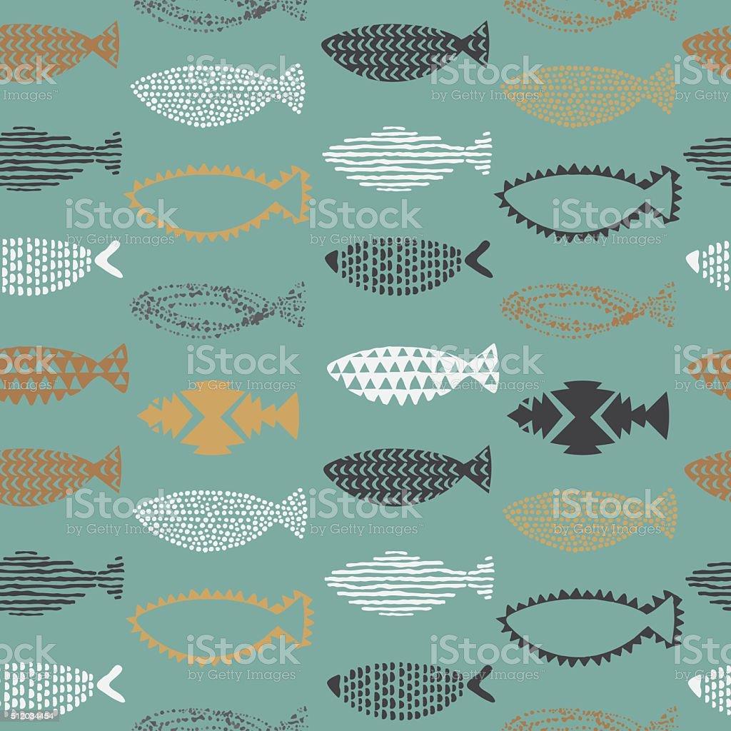 魚のシームレスなパターン。 ベクターアートイラスト