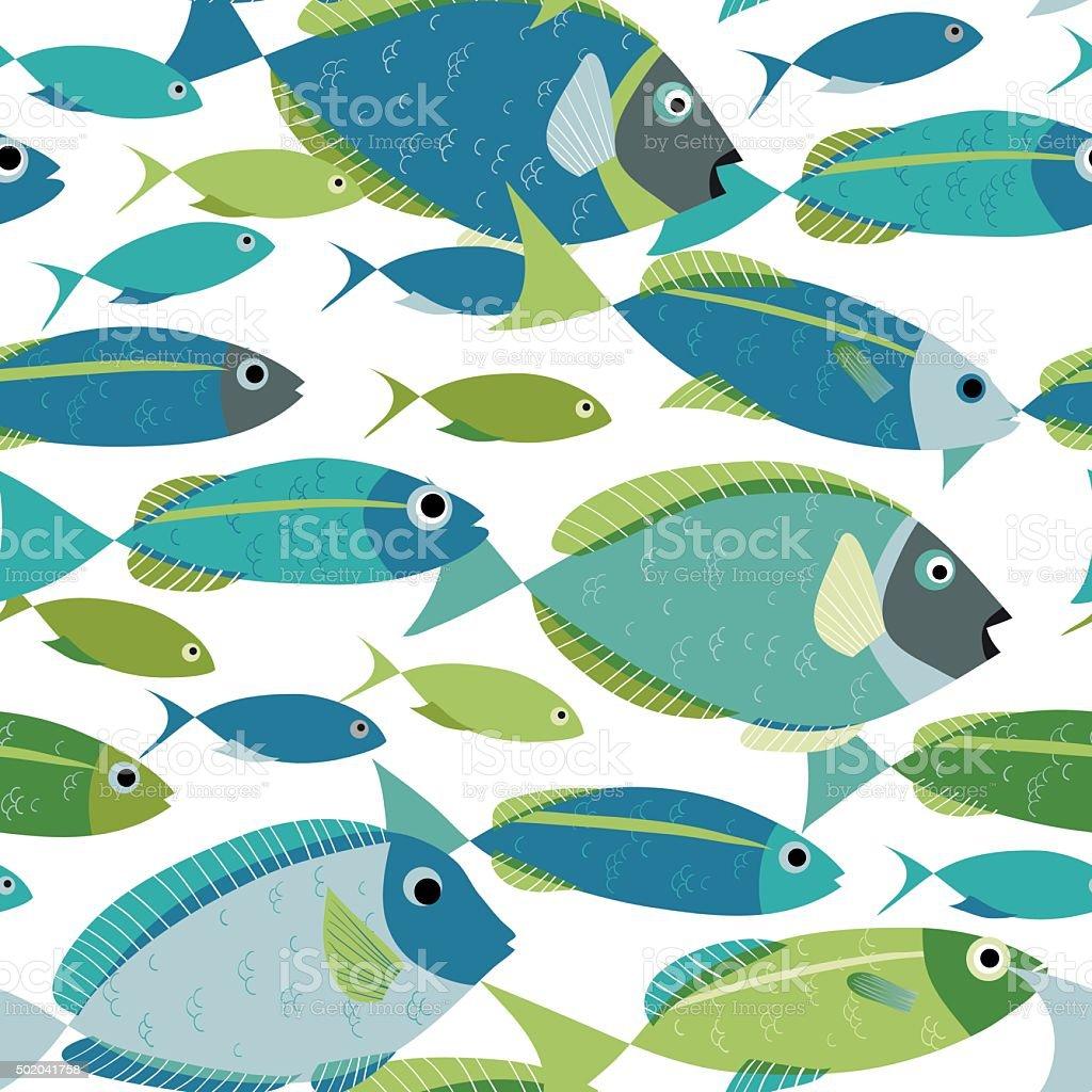 Piscine motif sans couture de poissons shoal - Illustration vectorielle