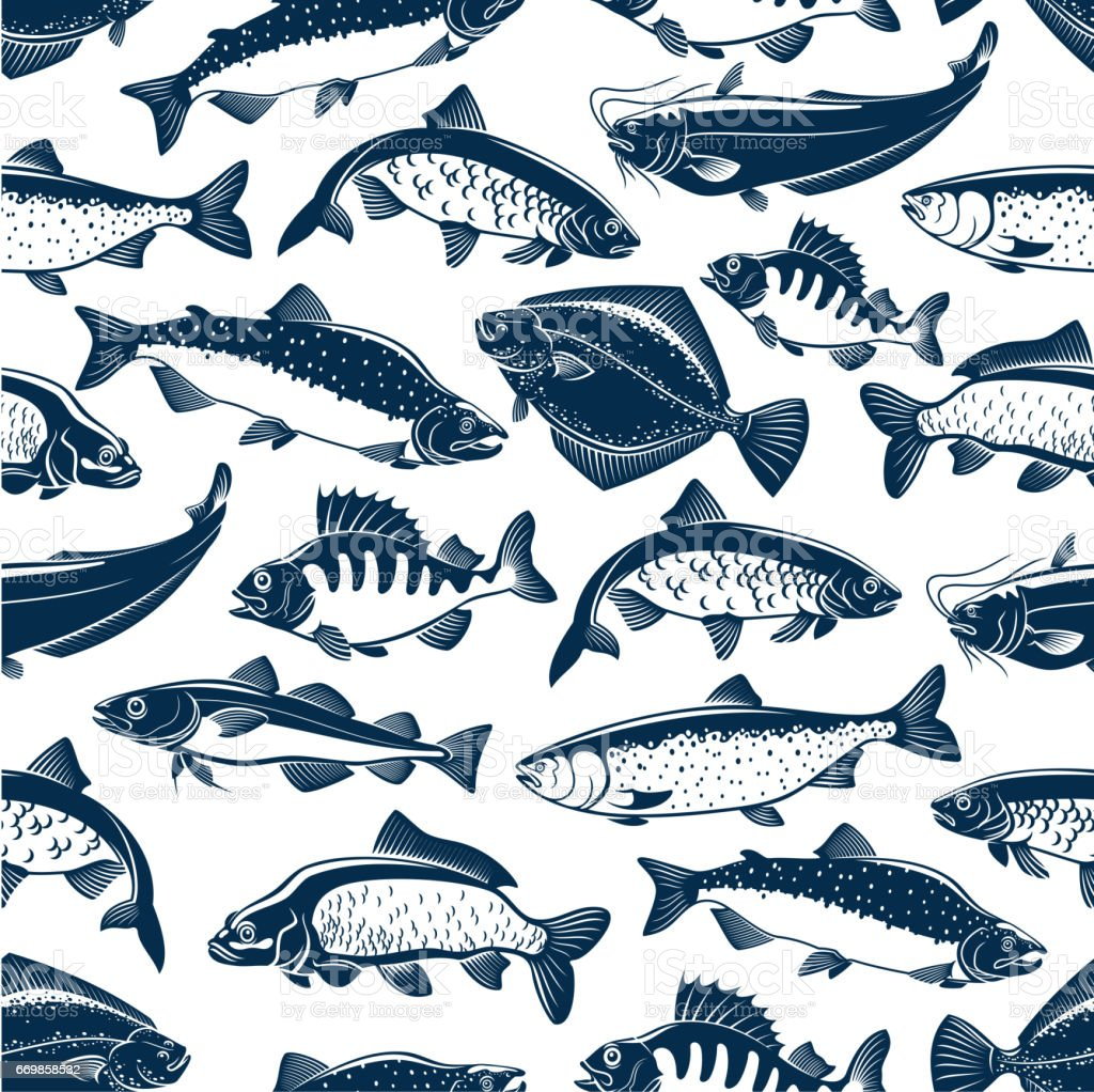 Fishes sketch seamless vector pattern - Illustration vectorielle