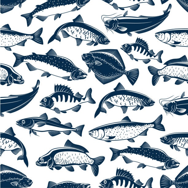 Fishes sketch seamless vector pattern vector art illustration