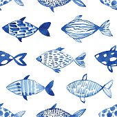 Light watercolor blue fishes on the white background. Seamlessly tiling fish pattern. Vector.