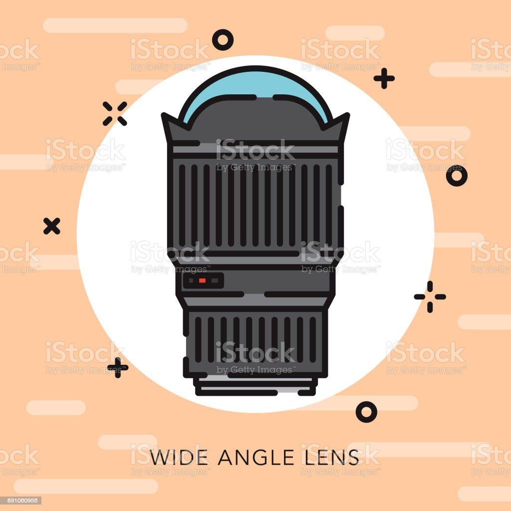 Fisheye Lens Wide Angle Lens Open Outline Photography Icon vector art illustration