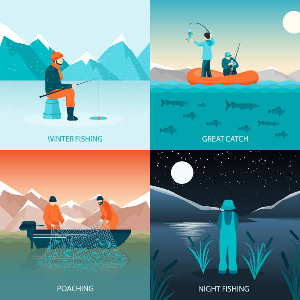 fishing 2x2 design concept Fishing 2x2 design concept flat square icons set with winter fishing great catch poaching and night fishing isolated vector illustration poaching animal welfare stock illustrations
