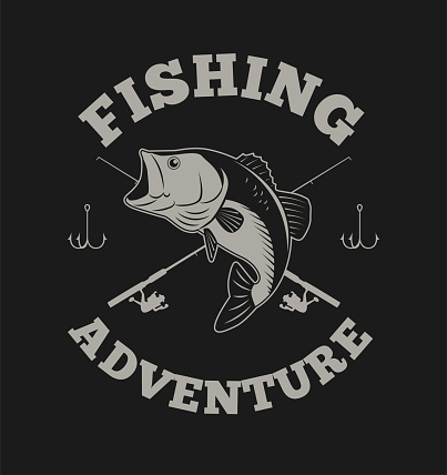 Fishing Adventure with Bass Fish and Fishing Rod Illustration